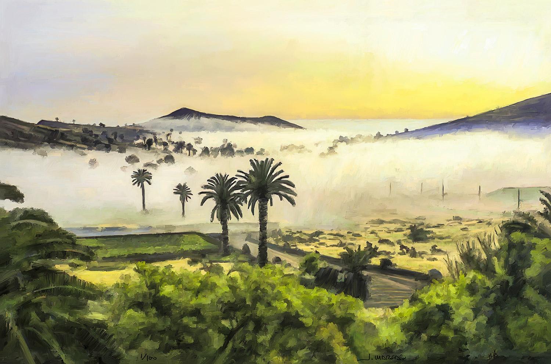 Amanece en el valle de las 1.000 palmeras de Haría