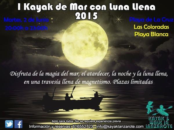 Travesía en kayak para degustar la luna llena, Kayak&Walk Lanzarote