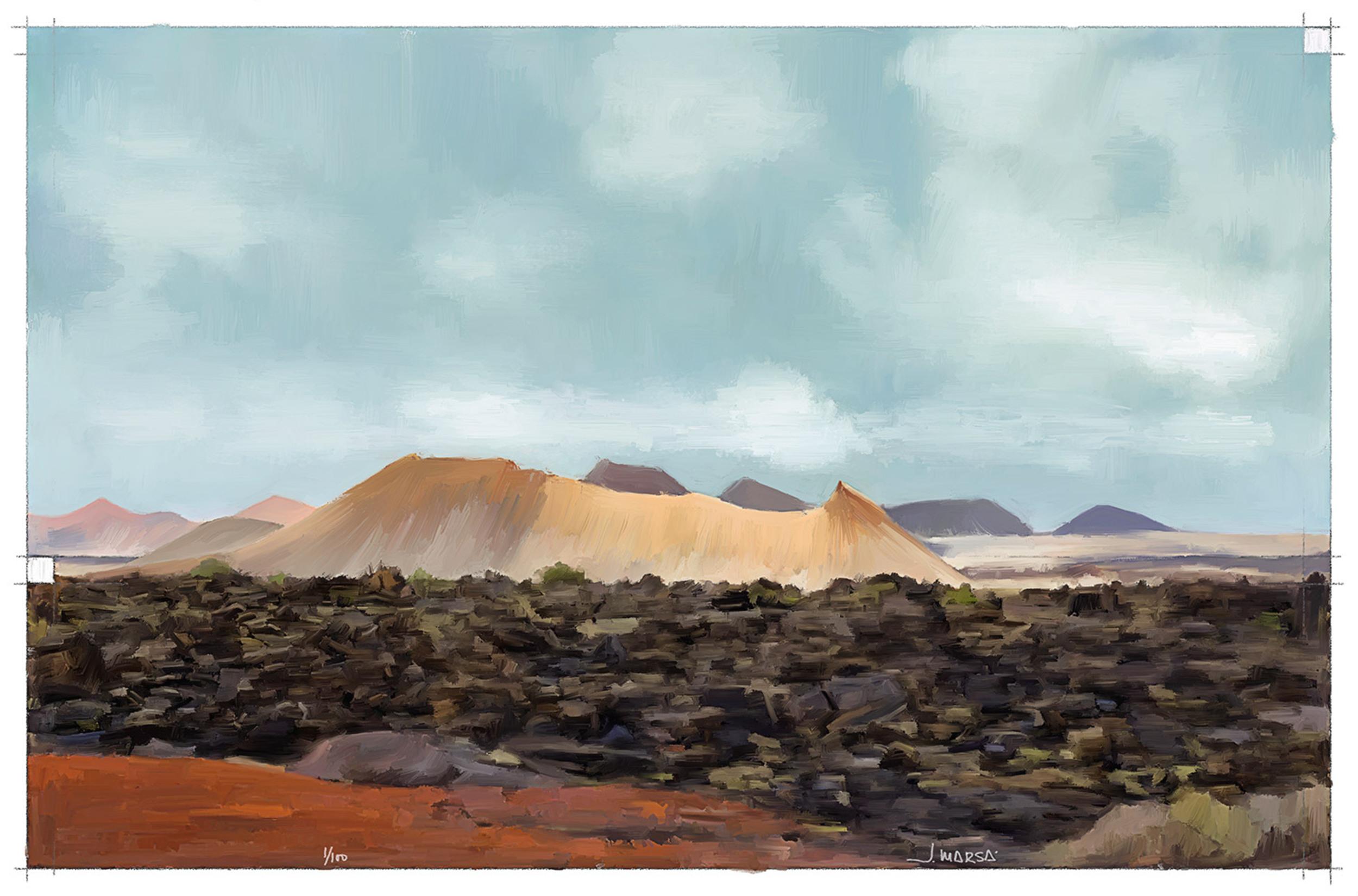 Pintura del sendero del volcán de Los Cuervos, por Jorge Marsá