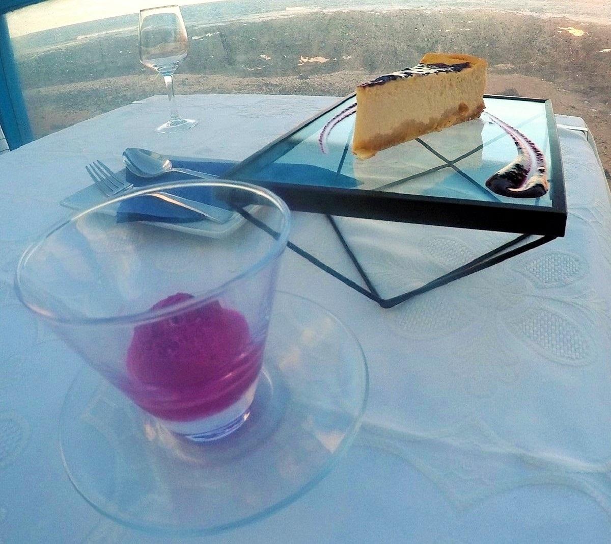 Tarta de queso y soberte de higo tuno